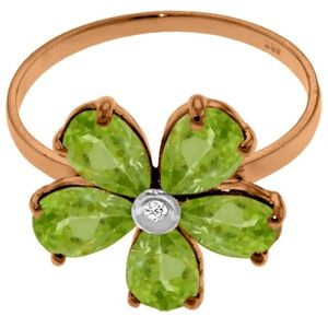 Galaxy Gold Products Jewelry - SOLID GOLD RING WITH NATURAL DIAMOND & PERIDOTS